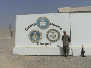 infront of Bucca Chapel Sign